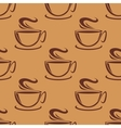 Seamless pattern of cups of steaming coffee vector