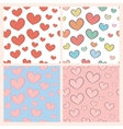 Seamless pattern set with hearts vector