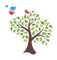 Stylized tree and birds in love vector
