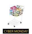 Set of hardware computer in cyber monday shopping vector