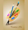 Art palette with paint brush vector