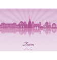 Turin skyline in purple radiant orchid vector