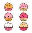 Set of kawaii cupcakess with different facial vector