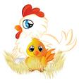 Cartoon hen and chicken vector