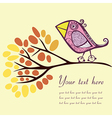 Bird on an autumn branch with place for your text vector