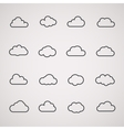 Cloud icons shapes set for computing web and app vector