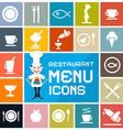 Colorful flat design restaurant menu icons set vector