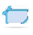 Blue gift card with dotted ribbon and dotted bow vector