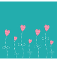Pink strip heart flowers love card flat deign vector