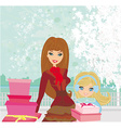 Fashion shopping girls with gift boxes vector