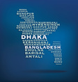 Bangladesh map made with name of cities vector