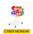 Hats and helmet in cyber monday shopping cart vector