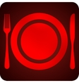 With plate fork and knife restaurant sign vector