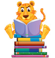 Tiger and books vector