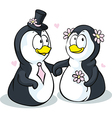 Penguins in love - isolated on white backgro vector