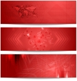 Red tech abstract banners vector
