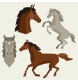 Set of horses different poses in flat style vector