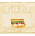 Horizontal grunge background with sandwich vector