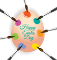 Colorful egg and brush for easter day greeting vector