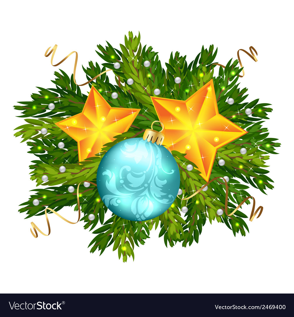 Christmas ball and stars isolated vector | Price: 1 Credit (USD $1)