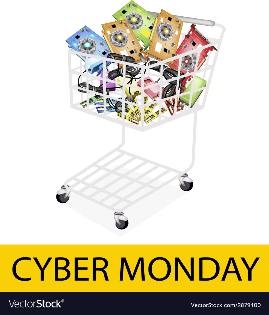 Computer hardware in cyber monday shopping cart vector | Price: 1 Credit (USD $1)