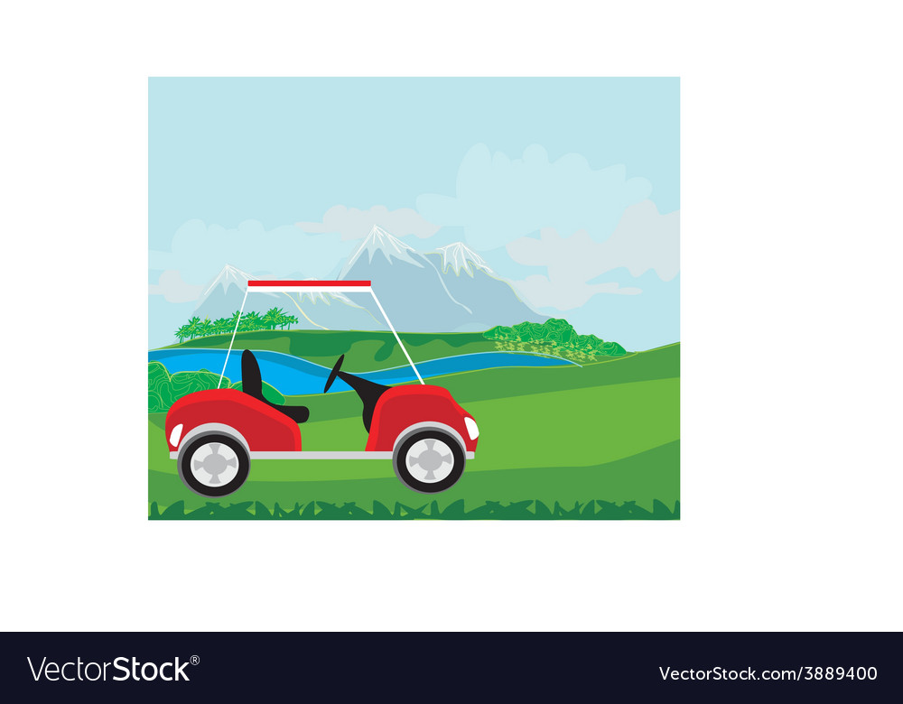 Golf cart at the beautiful golf course vector | Price: 1 Credit (USD $1)