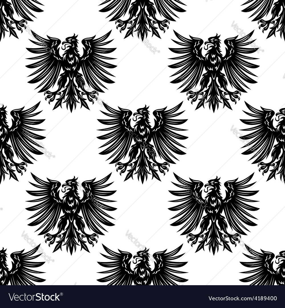 Heraldic eagles seamless pattern background vector | Price: 1 Credit (USD $1)