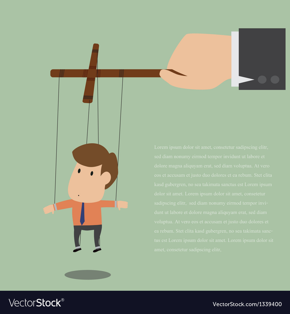 Marionette of businessman with rope controlled vector | Price: 1 Credit (USD $1)
