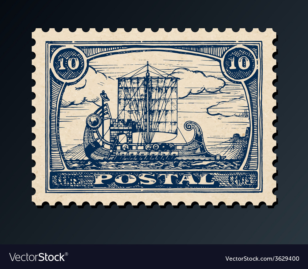 Postage stamp with ship vector | Price: 1 Credit (USD $1)