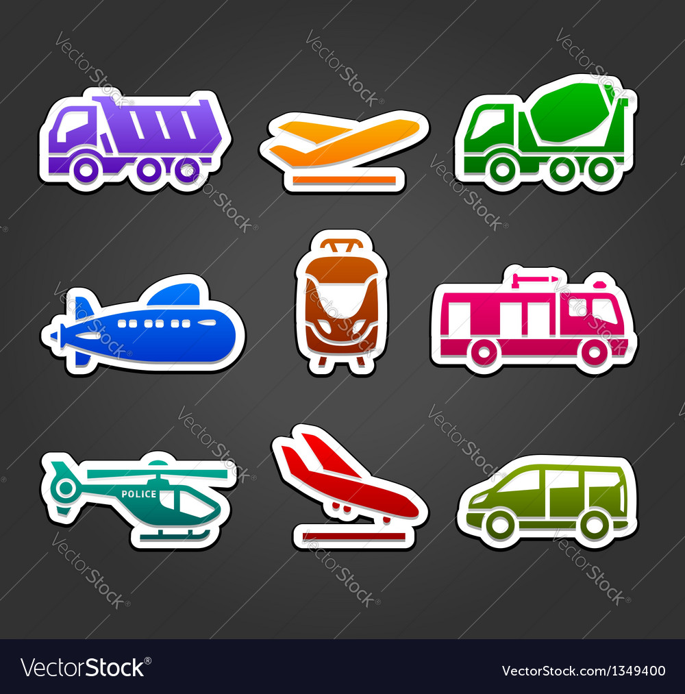 Set of stickers transport color pictograms vector | Price: 1 Credit (USD $1)