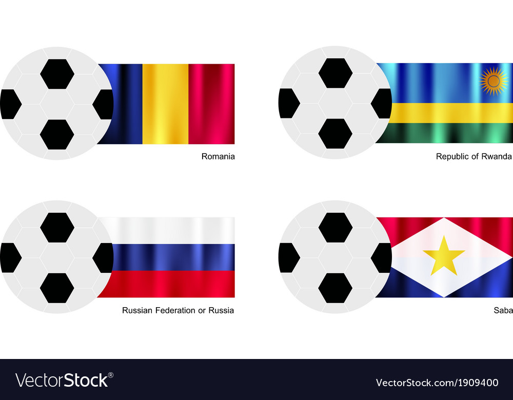 Soccer ball of romania rwanda russia and saba vector | Price: 1 Credit (USD $1)