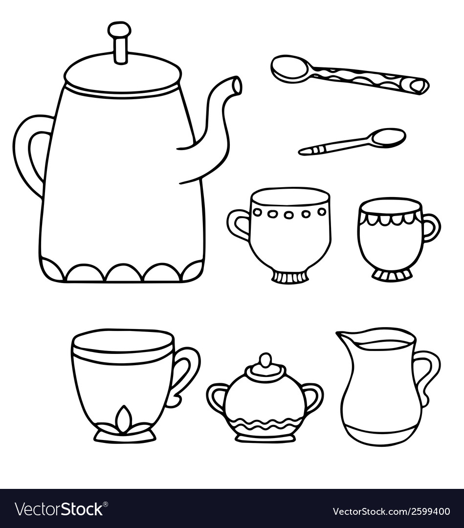 Tea time supplies vector | Price: 1 Credit (USD $1)
