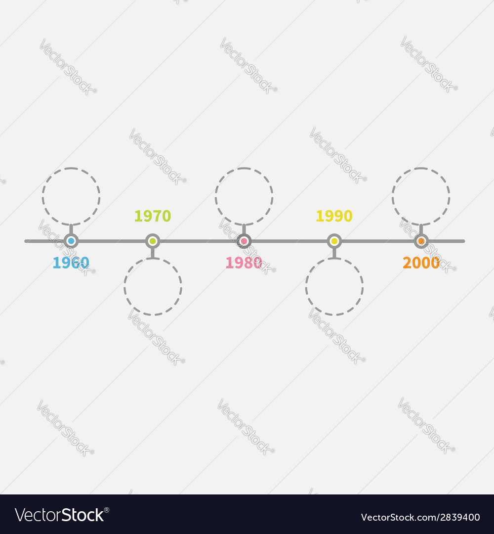 Timeline infographic with empty dash line circles vector | Price: 1 Credit (USD $1)