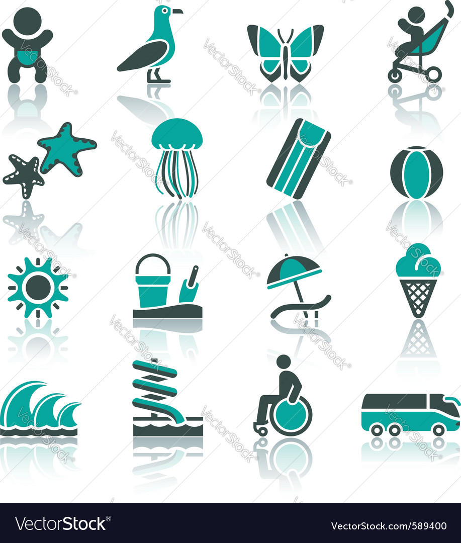 Tourism recreation  vacation icons set vector | Price: 1 Credit (USD $1)