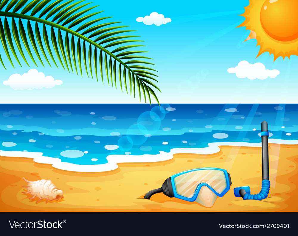 A beach with a shinning sun vector | Price: 3 Credit (USD $3)
