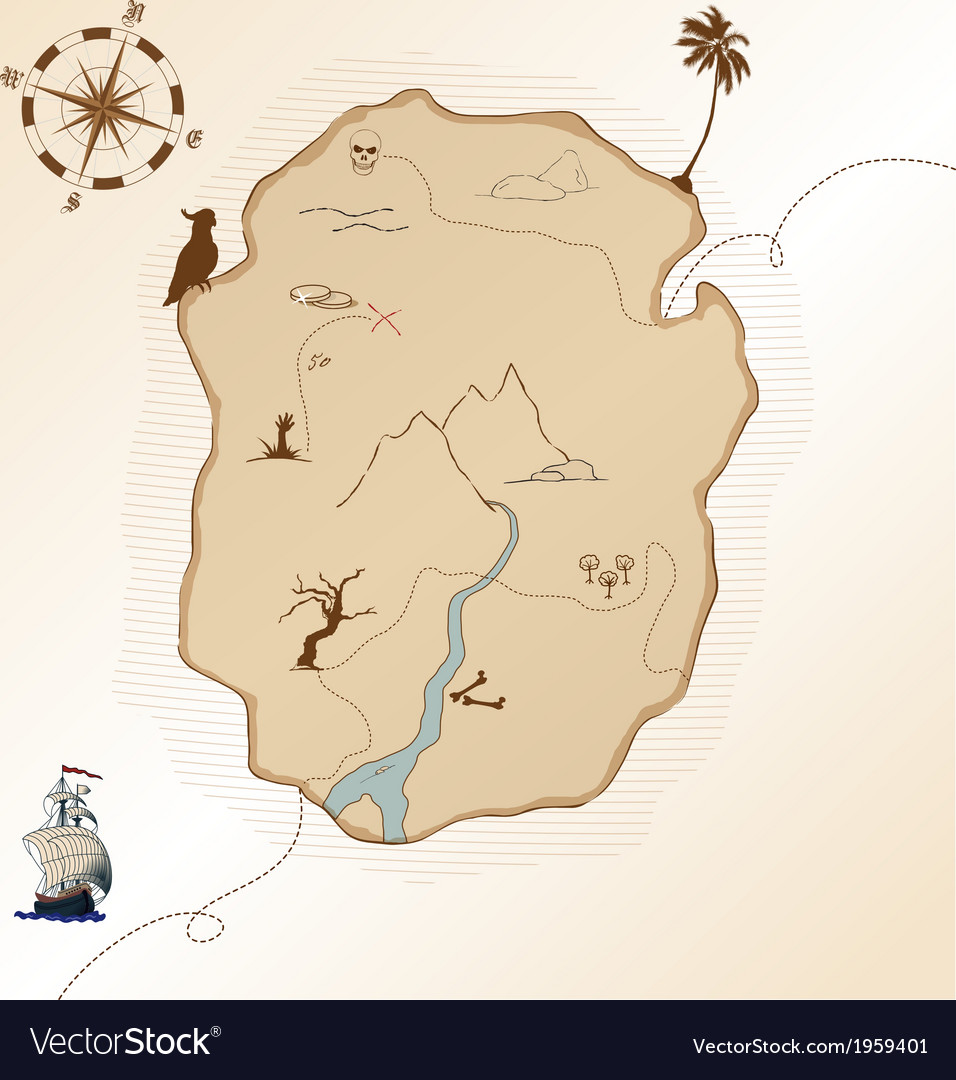 Antique treasure map vector | Price: 1 Credit (USD $1)