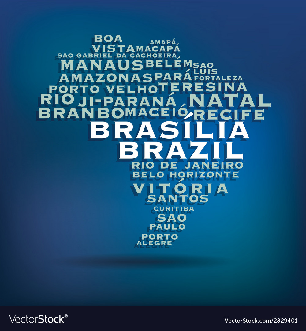 Brazil map made with name of cities vector | Price: 1 Credit (USD $1)