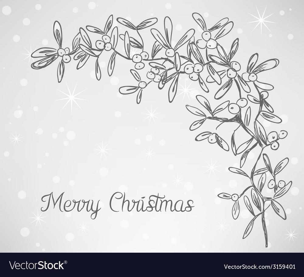 Christmas mistletoe doodle vector | Price: 1 Credit (USD $1)