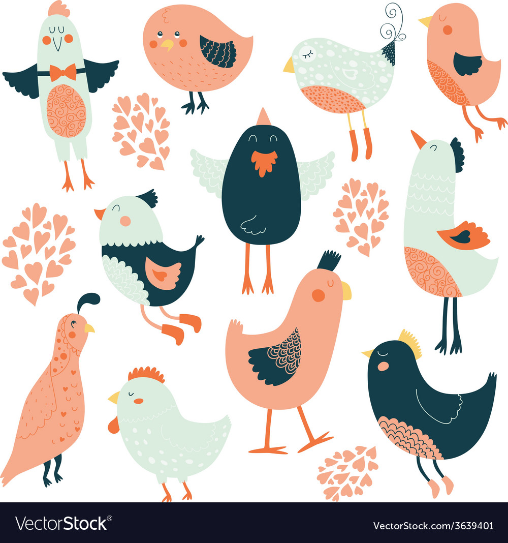 Cute birds collection vector   Price: 1 Credit (USD $1)