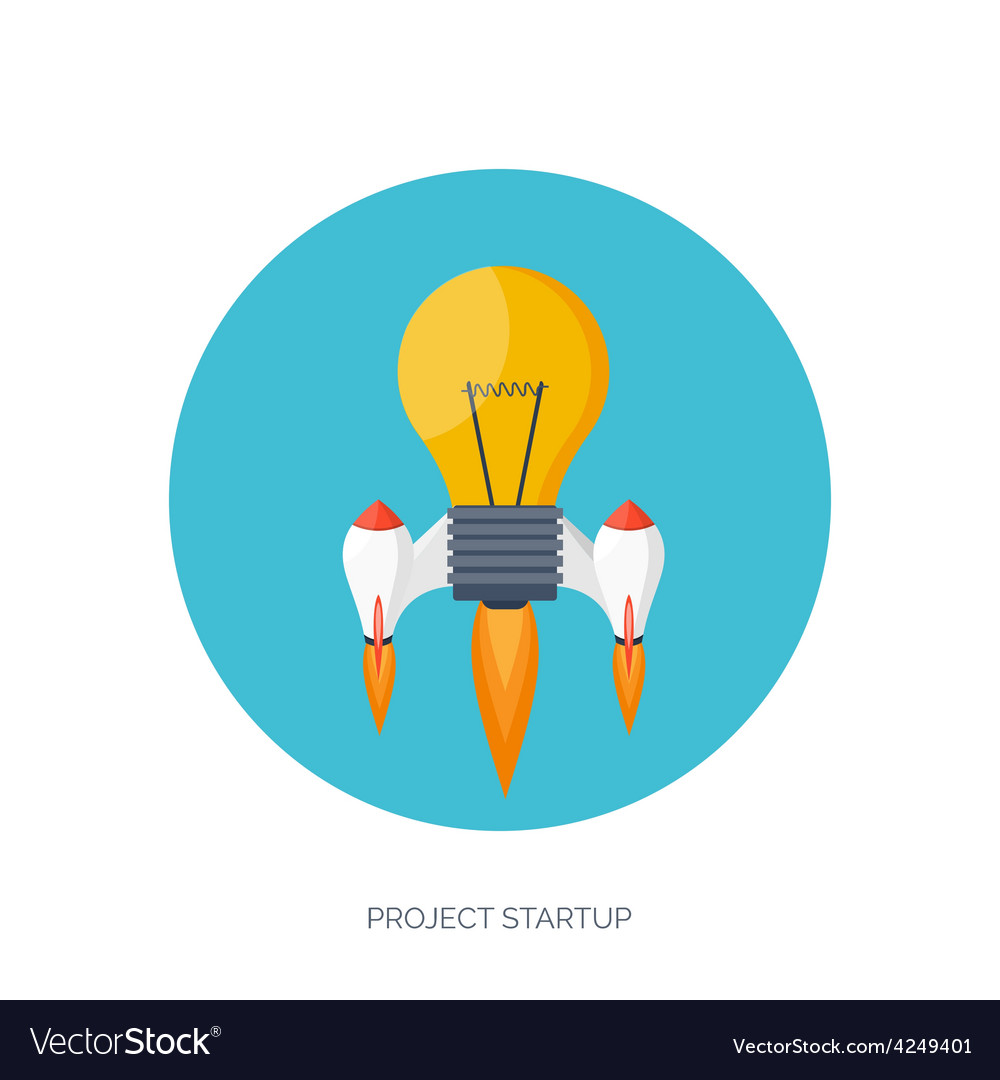 Flat rocket icon startup concept project vector | Price: 1 Credit (USD $1)