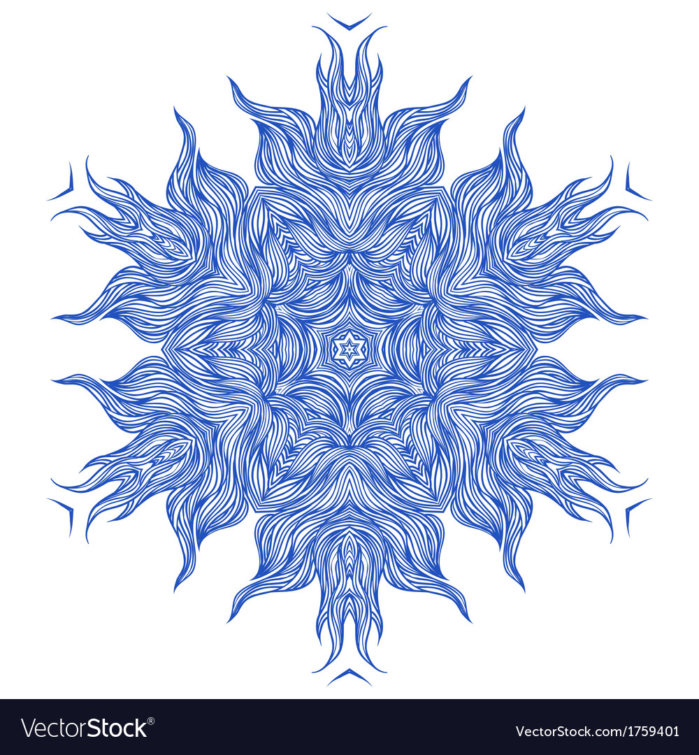 Mandala design or snowflake in dark blue vector | Price: 1 Credit (USD $1)