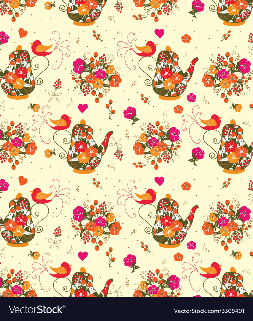 Pattern with flowers and birds vector