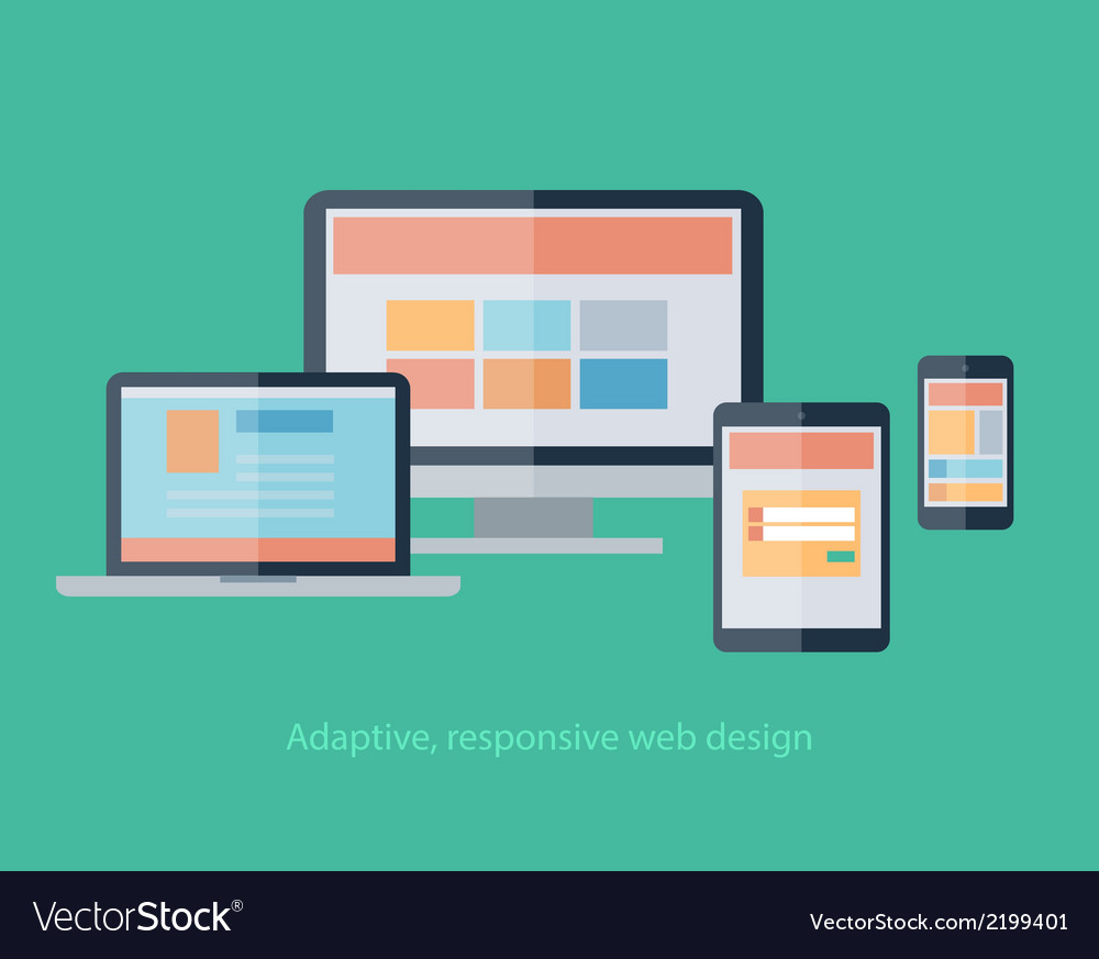 Responsive web design on devices notebook monitor vector | Price: 1 Credit (USD $1)