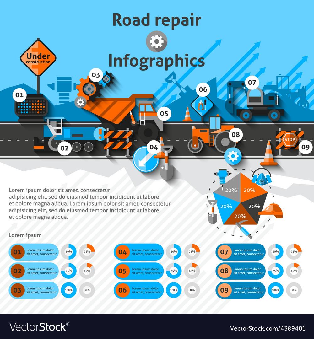 Road repair infographics vector   Price: 1 Credit (USD $1)