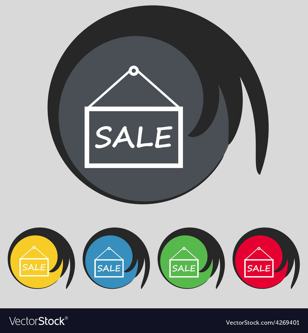 Sale tag icon sign symbol on five colored buttons vector | Price: 1 Credit (USD $1)