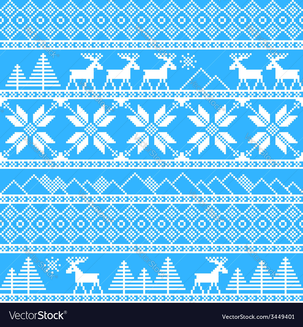 Traditional christmas knitted ornamental pattern vector | Price: 1 Credit (USD $1)