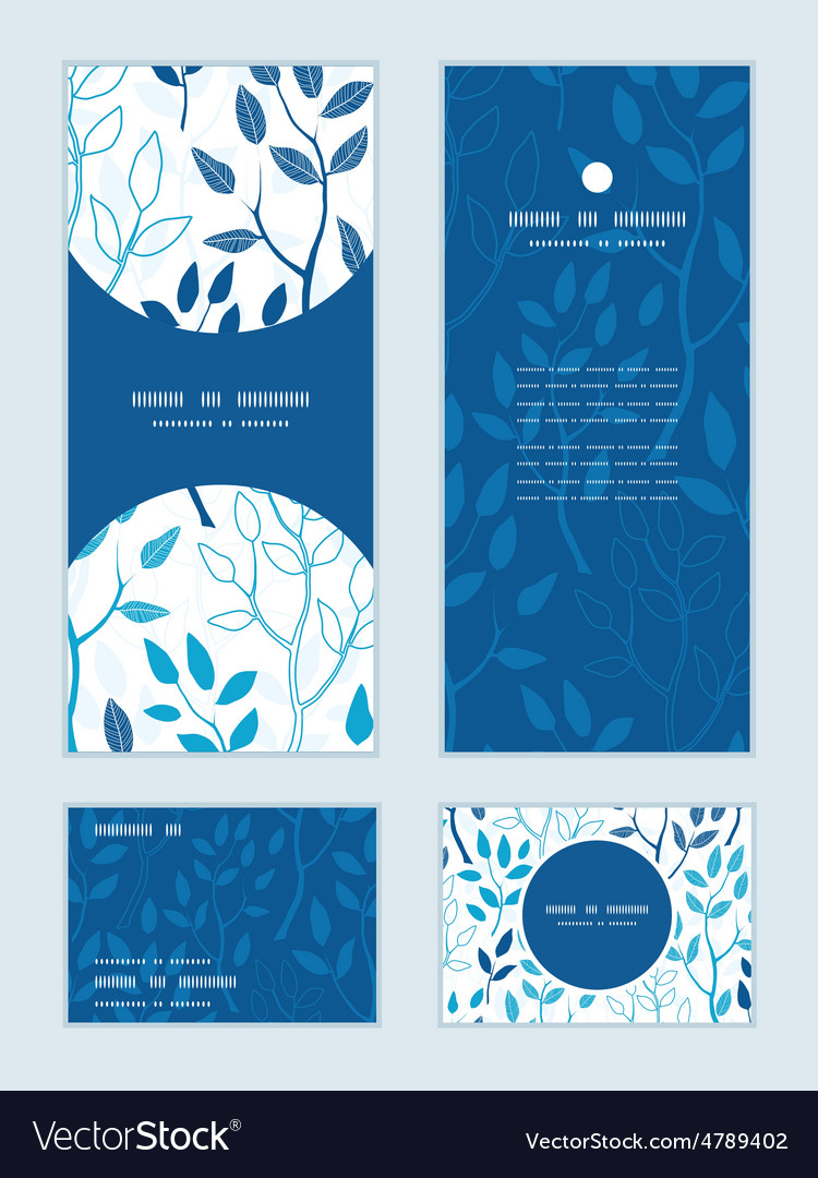 Blue forest vertical frame pattern vector | Price: 1 Credit (USD $1)