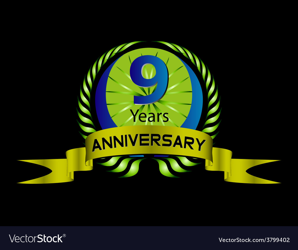 Celebrating 9 years anniversary green laurel vector | Price: 1 Credit (USD $1)