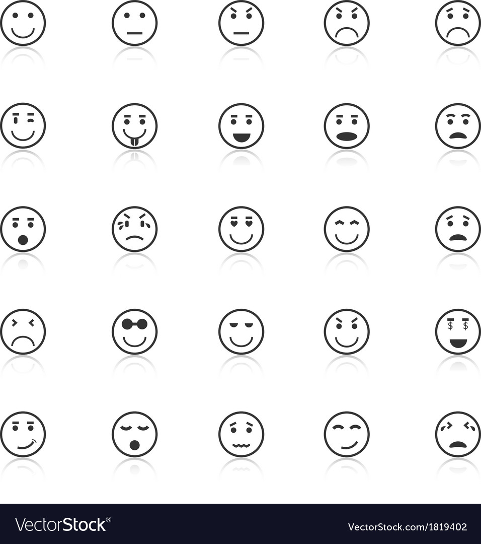 Circle face icons with reflect on white background vector | Price: 1 Credit (USD $1)