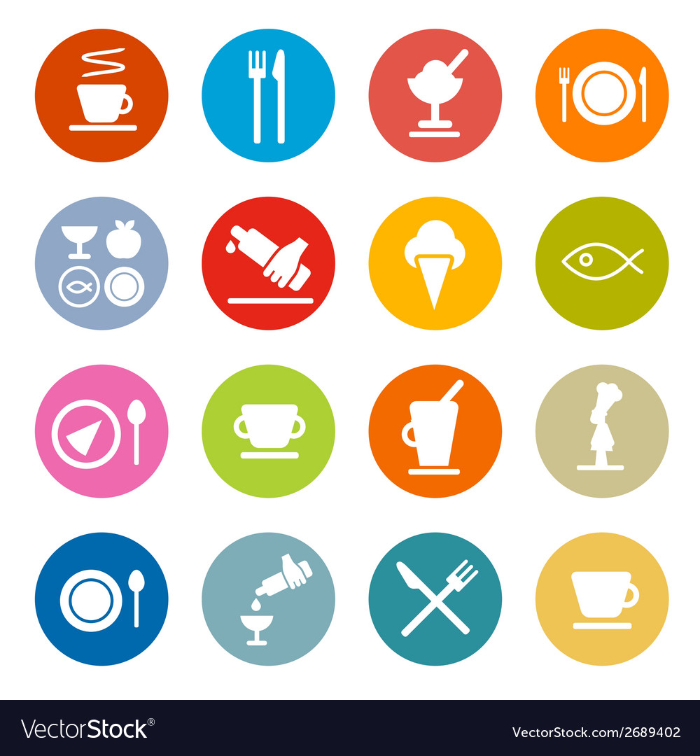 Colorful circle flat design restaurant - food vector | Price: 1 Credit (USD $1)